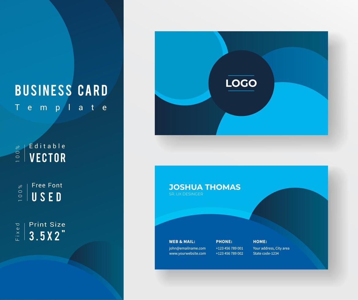 cartão de visita em tons azul com desenhos de círculo vetor