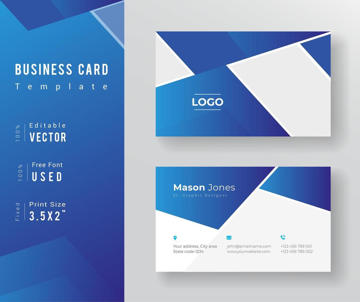 Soft Blue Gradient Business Card Template vector