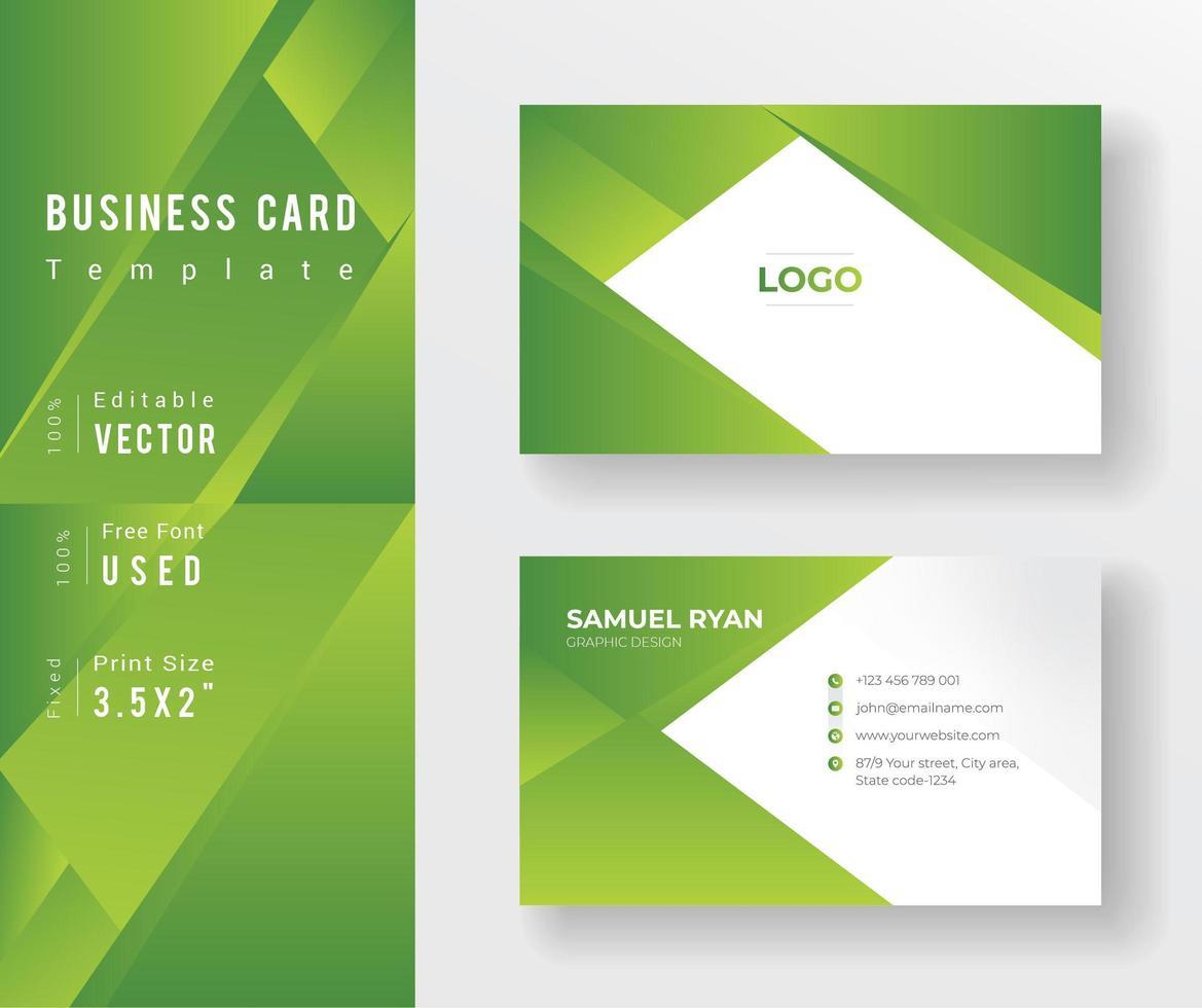 modelo de cartão de visita de design de ângulo de gradiente verde vetor