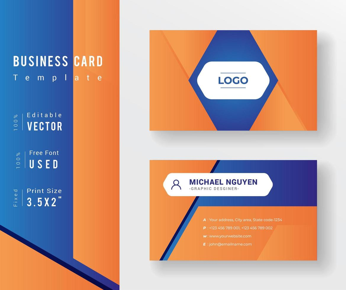 Orane and Blue Border Business Card Template - Download Free