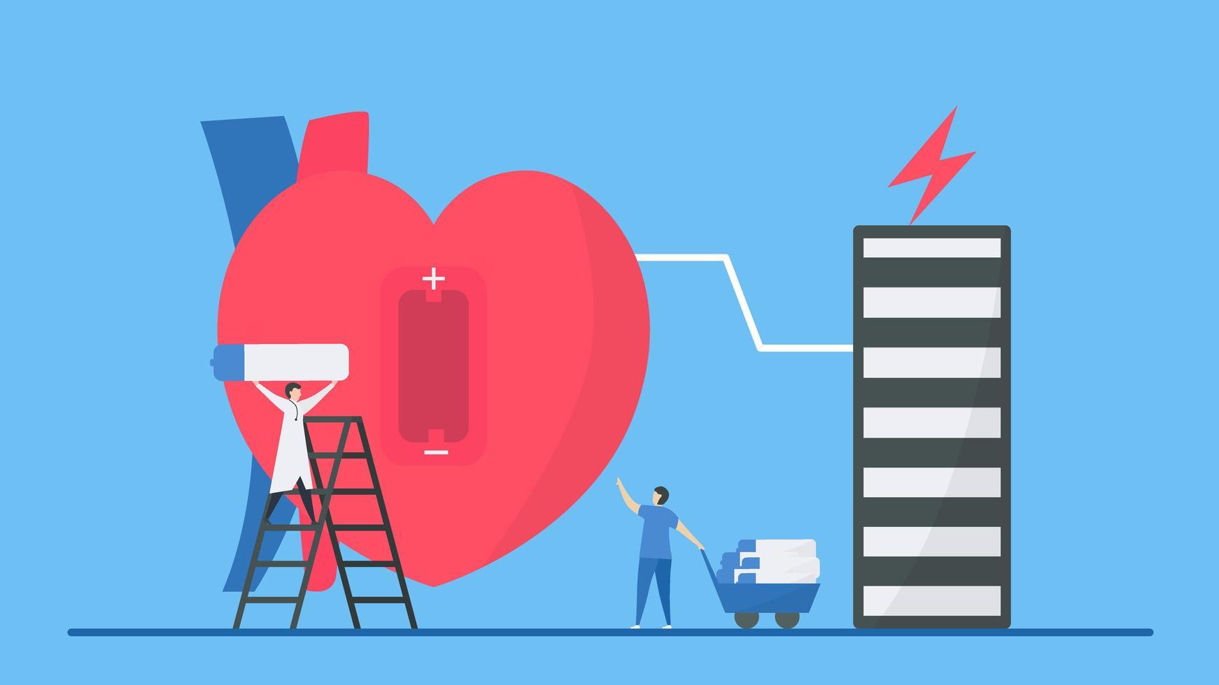 Bradykardie-Arrhythmie-Konzept mit Mitarbeitern, die Herzensenergie geben vektor