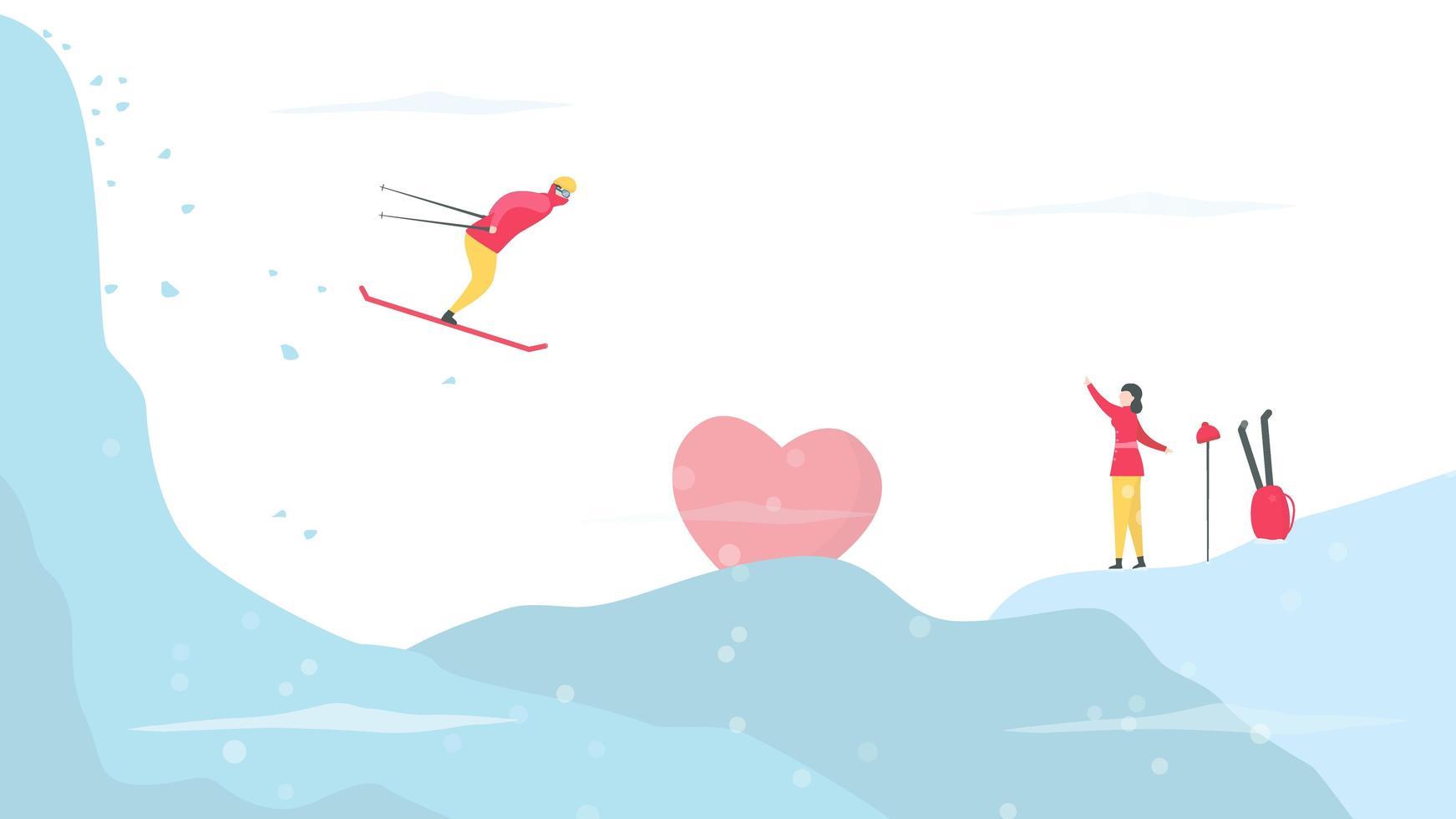 pareja esquiando y encontrando a alguien en la nieve vector