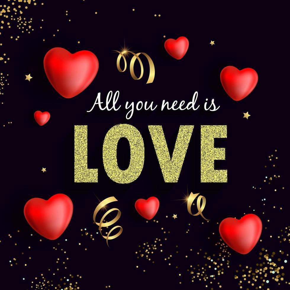 tout ce dont vous avez besoin est un flyer d'amour avec des confettis et des coeurs en or vecteur