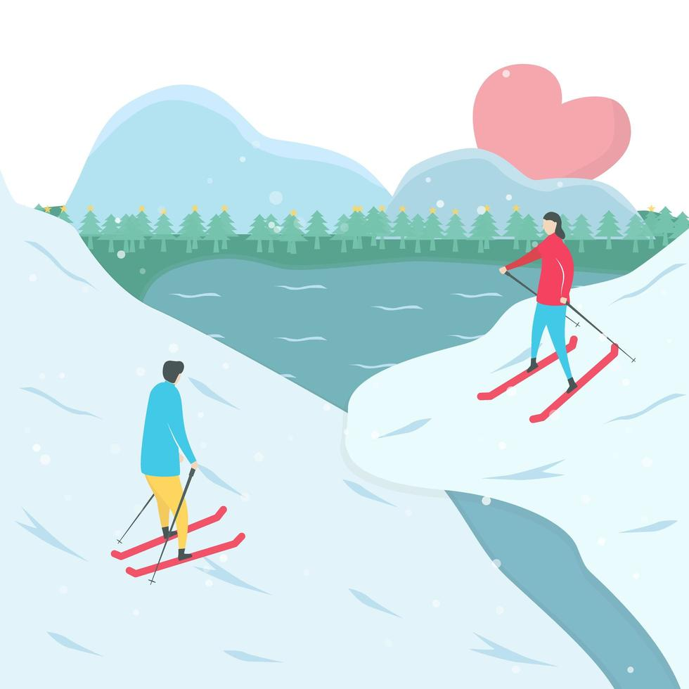pareja esquiando uno hacia el otro en la montaña vector