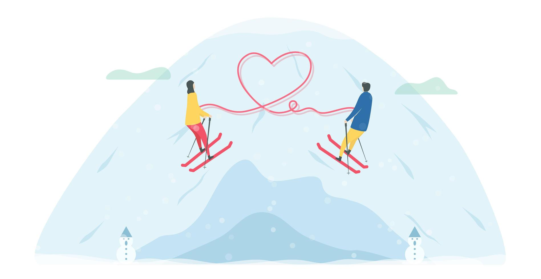 Romantic Skiing Couple Tethered by Heart vector