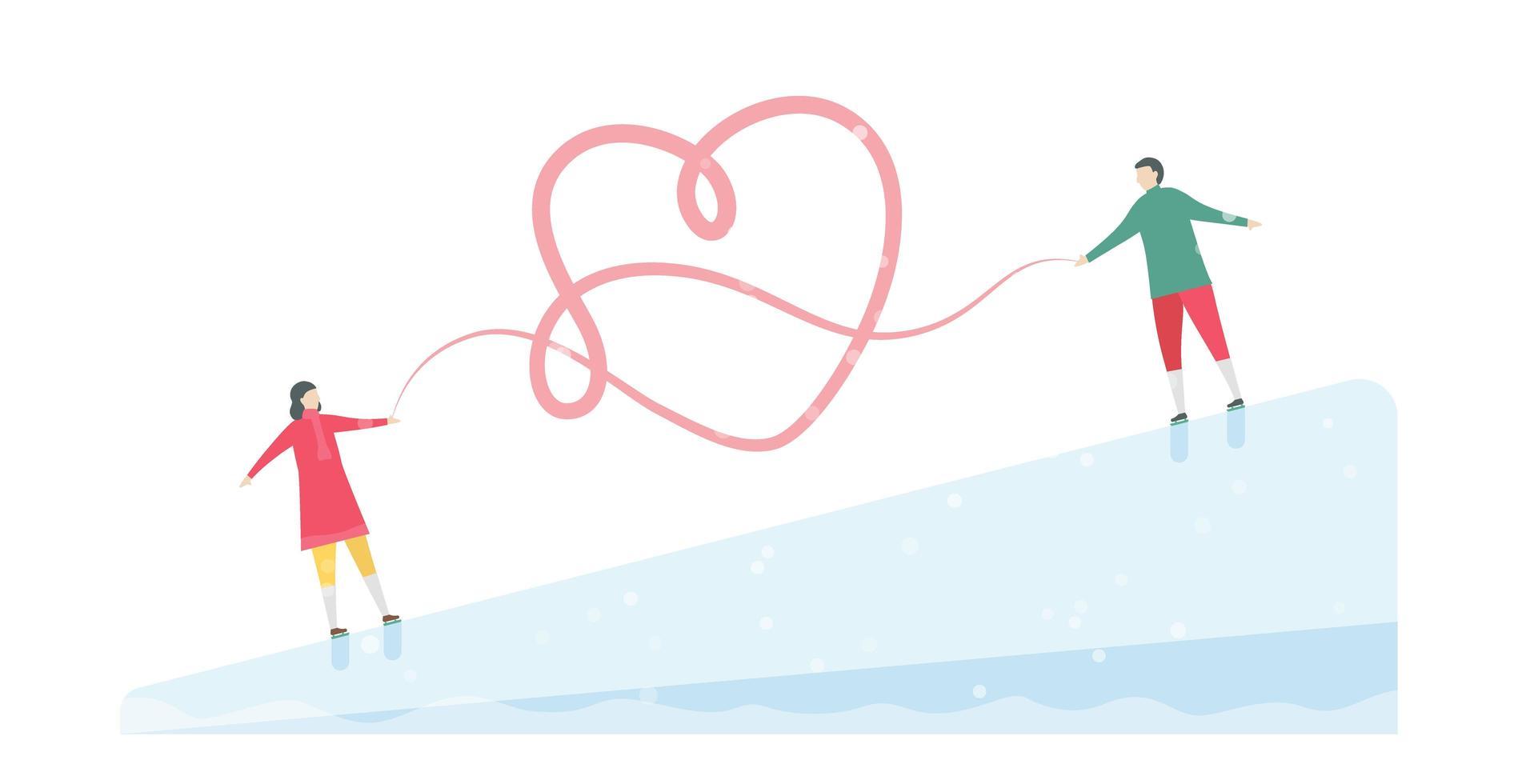 romantisch schaatspaar vastgebonden door het hart vector