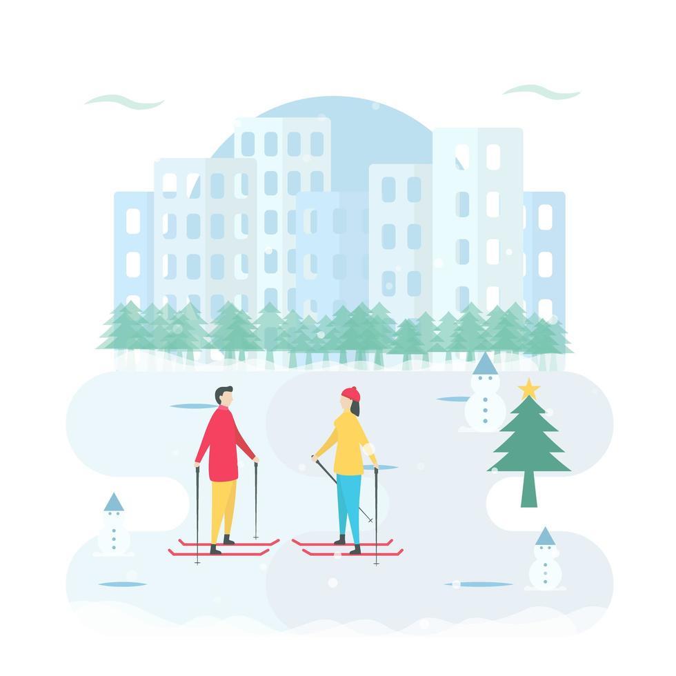 Romantic Couple Skiing on Ice Around Snowmen vector