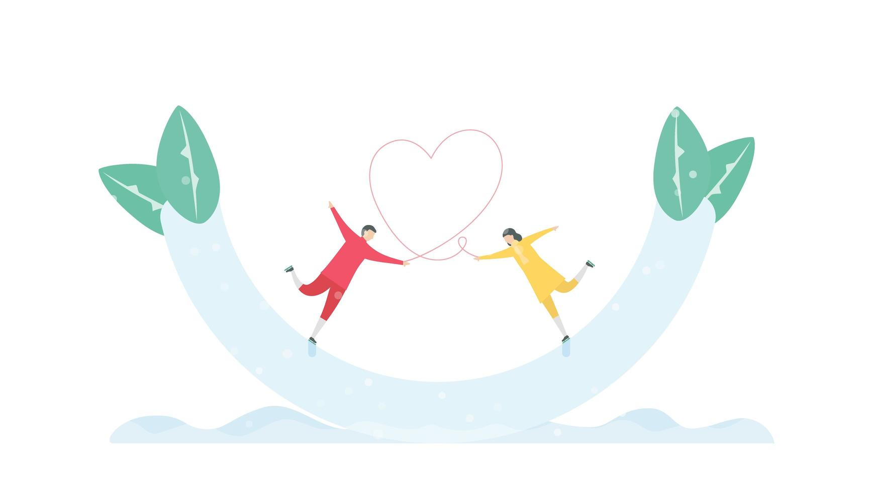 Couple Tethered by Heart Ice Skating in Half Pipe vector