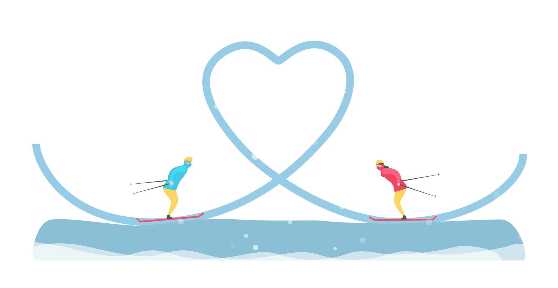par romântico de esqui na pista do coração vetor