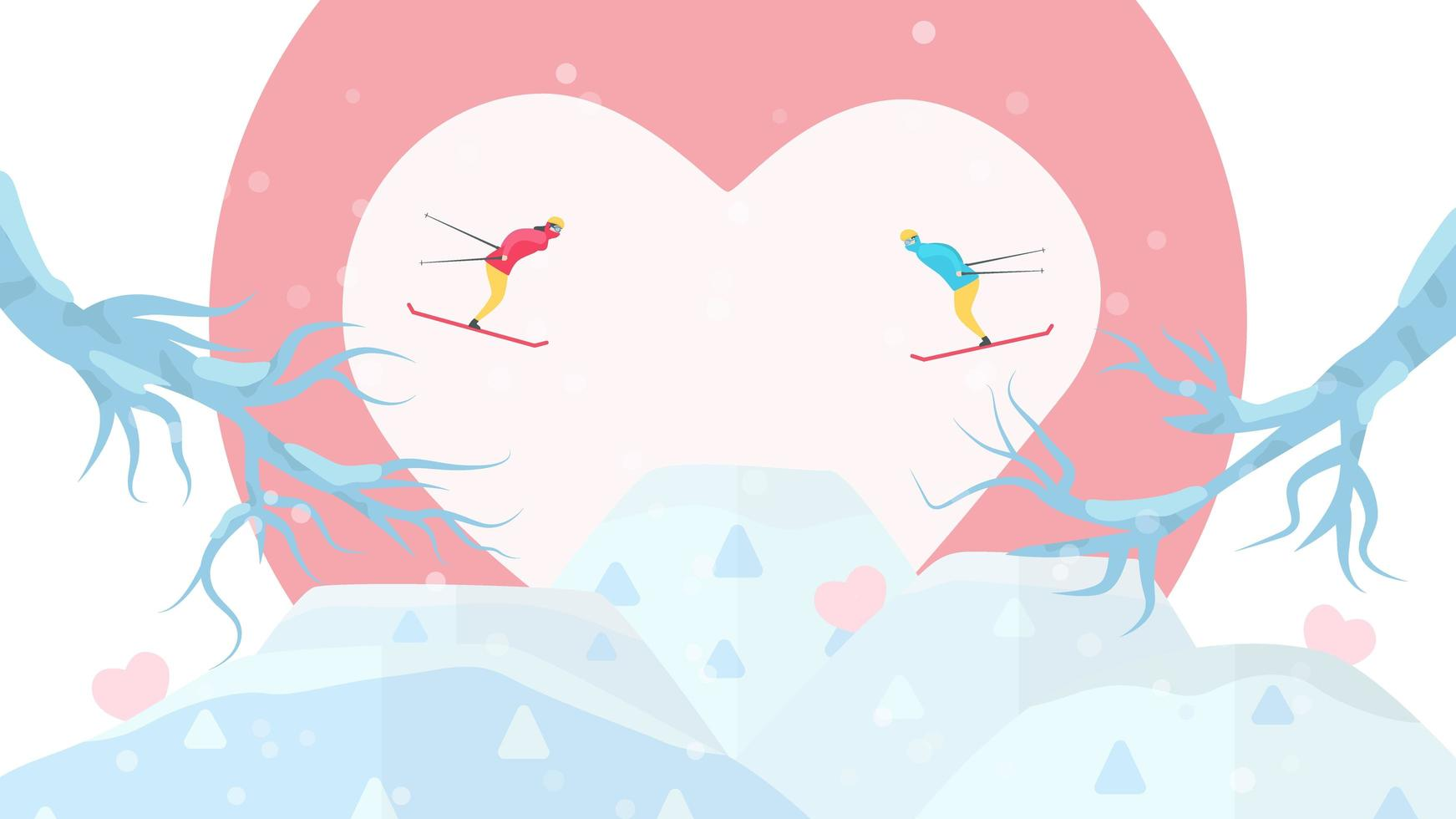 Couple Skiing Towards Each Other in Front of Heart vector