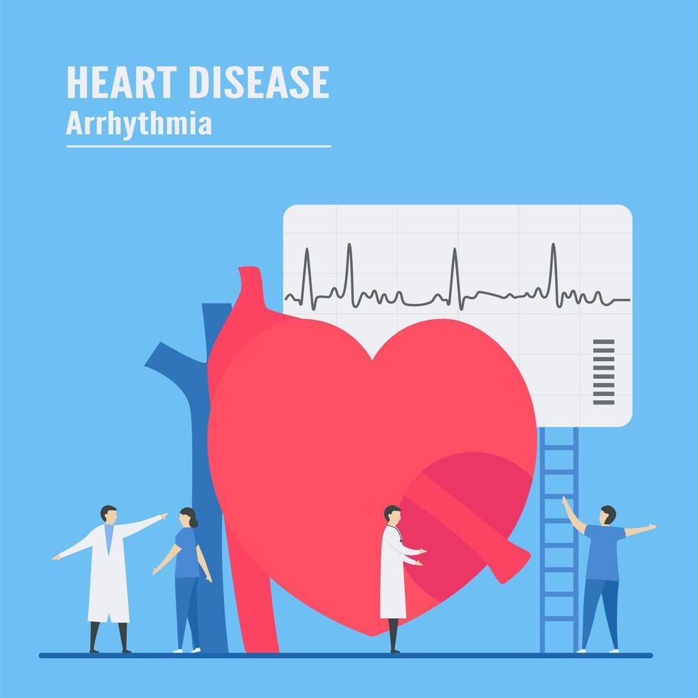 concepto de arritmia con personal que prueba el corazón vector