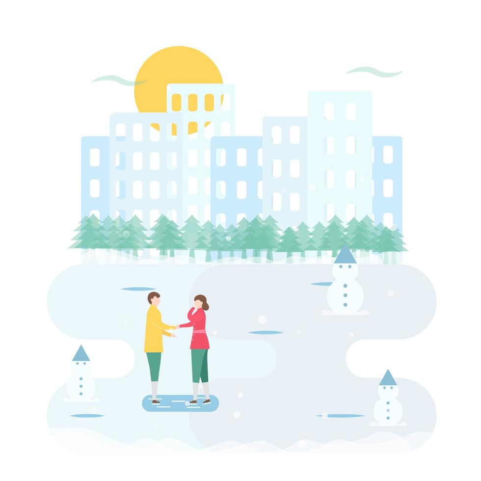 Ice Skating Couple Talking with City in Background vector