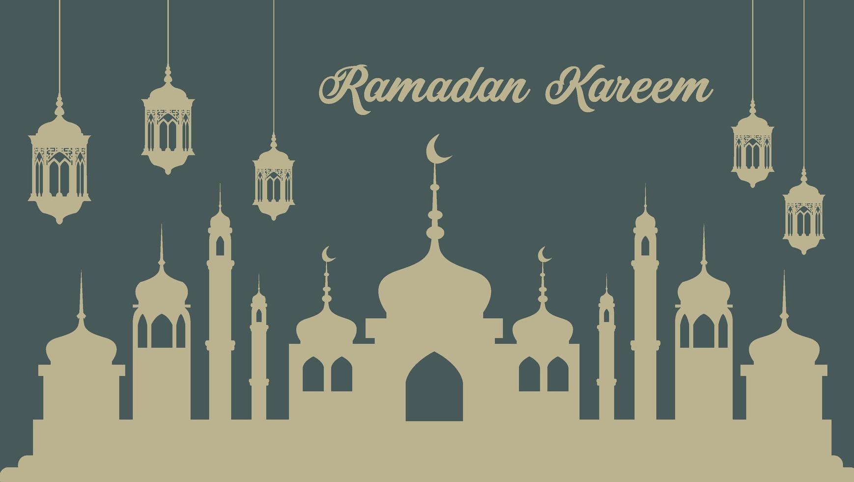 ramadan poster met lantaarns en moskee silhouet vector