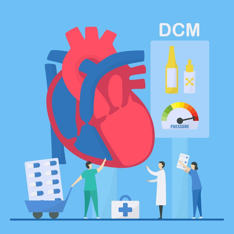 Dilated Cardiomyopathy Concept with Staff Diagnosing vector