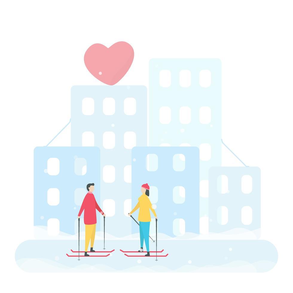 coppia romantica sciare in città vettore