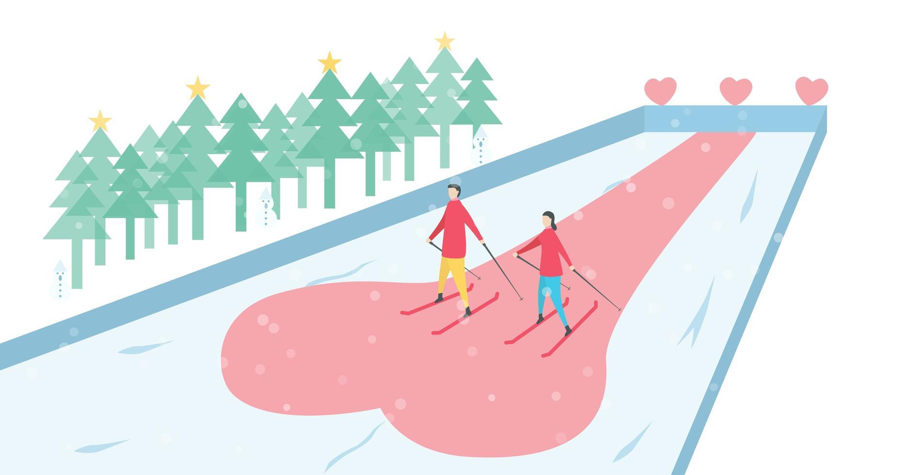 casal romântico esquiar na pista de gelo vetor