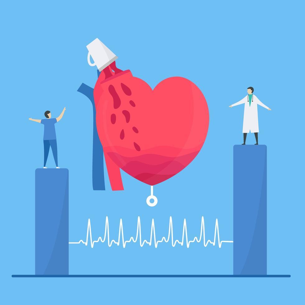 Tachykardie-Arrhythmie-Konzept mit Herz, das zu viel Kaffee erhält vektor