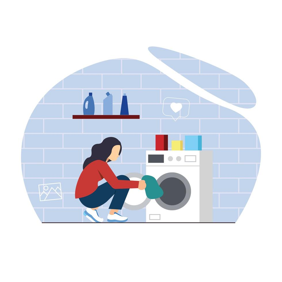 Female putting clothes into washing machine vector