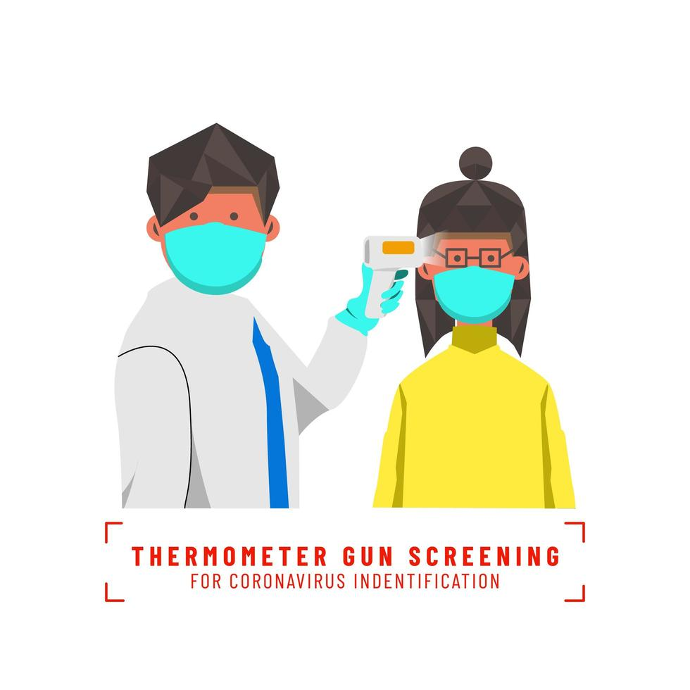 médico triagem garota mascarada com termômetro vetor