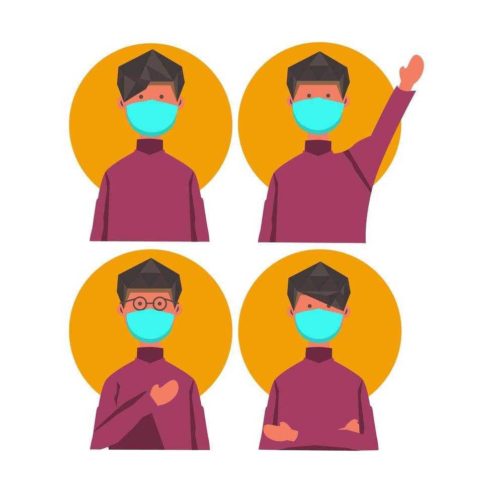 personnages d'homme masqué dans des poses différentes vecteur