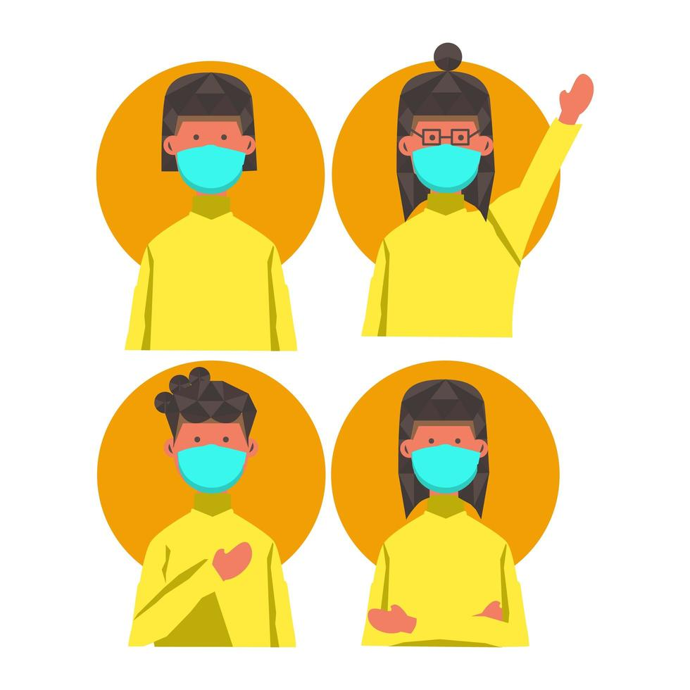 Masked Women with Different Hairstyles and Poses vector