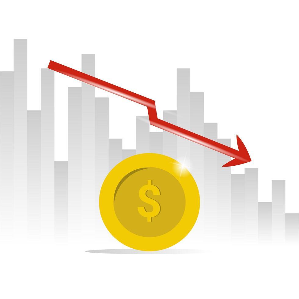 grafiek met pijl-omlaag over munt vector