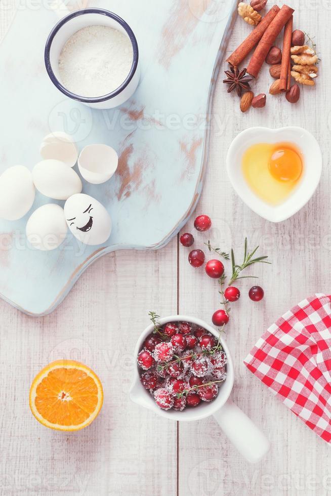 ingredientes de pastel de naranja y arándano foto