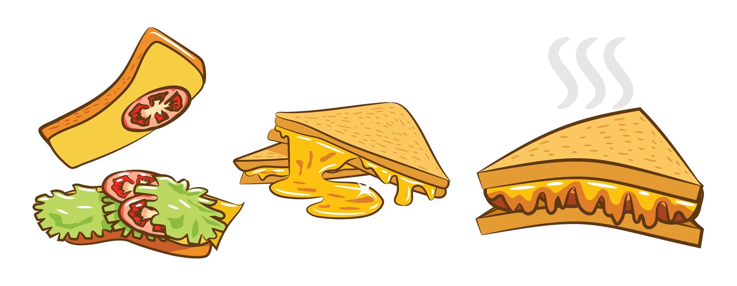 conjunto de sándwiches de queso a la parrilla vector