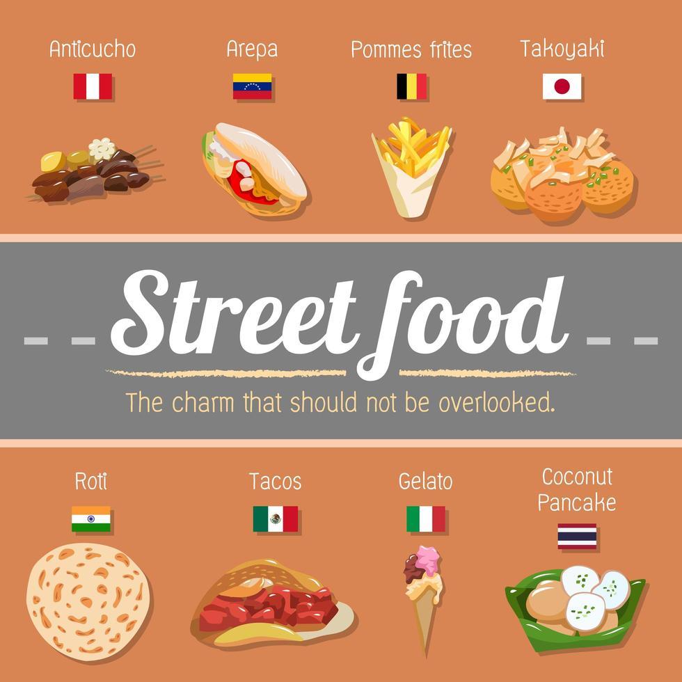 wereldwijde straatvoedselaffiche vector