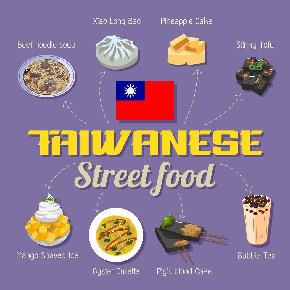 cartel de comida callejera taiwanesa vector