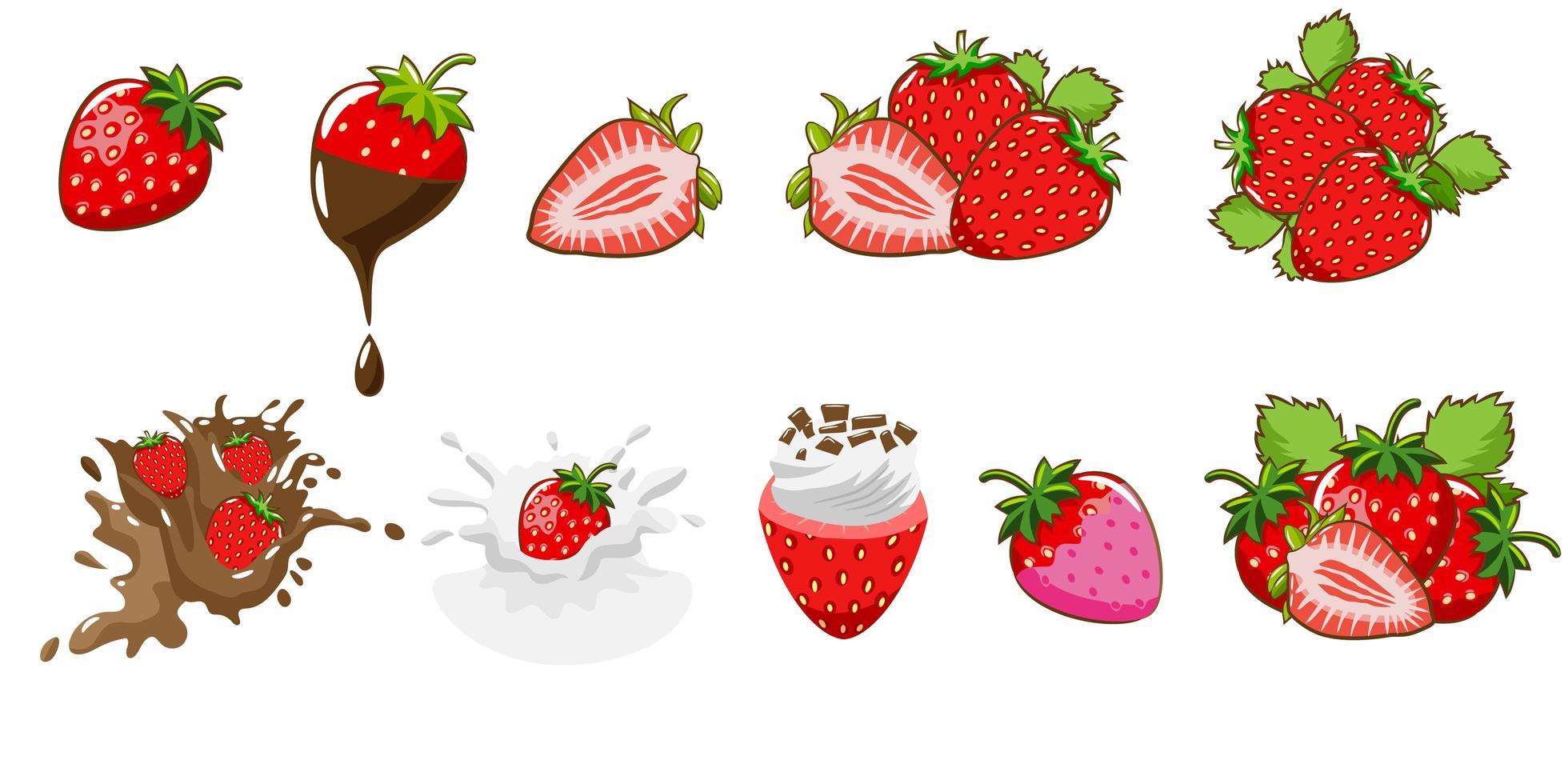 conjunto de fresa de dibujos animados vector