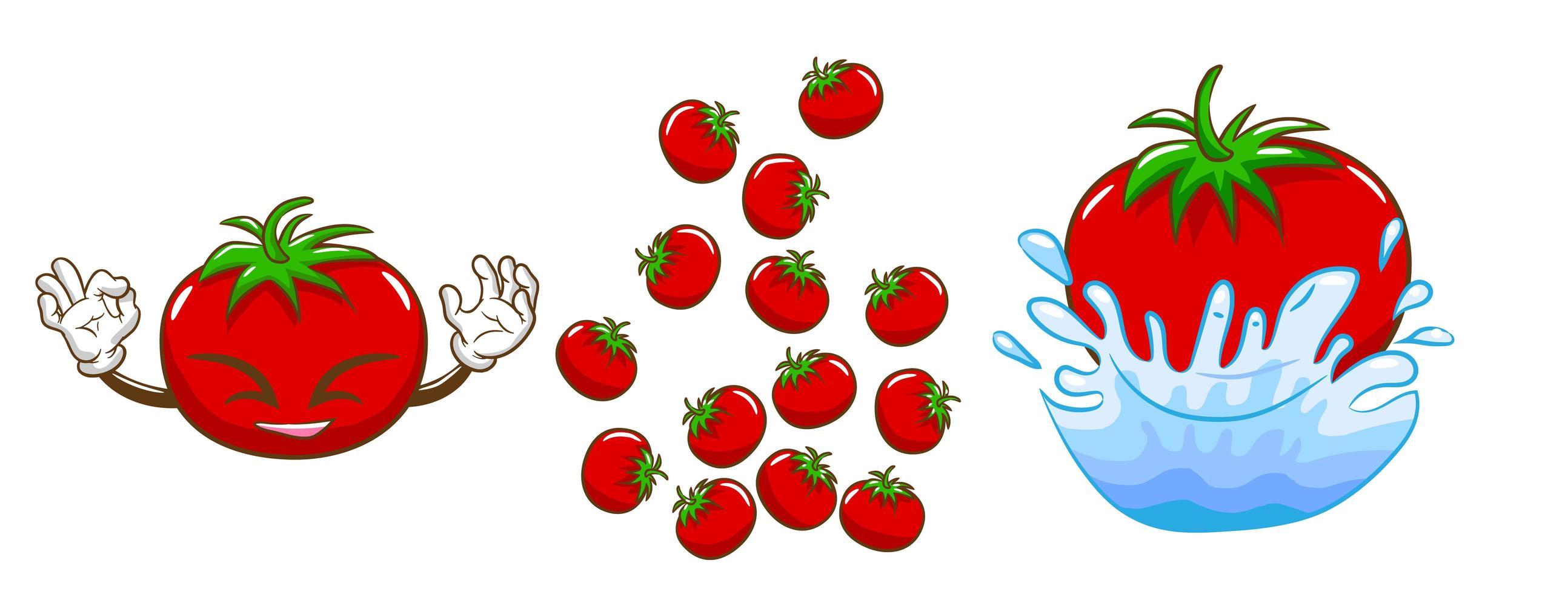 sorrindo tomate vermelho com outro conjunto de tomates vetor