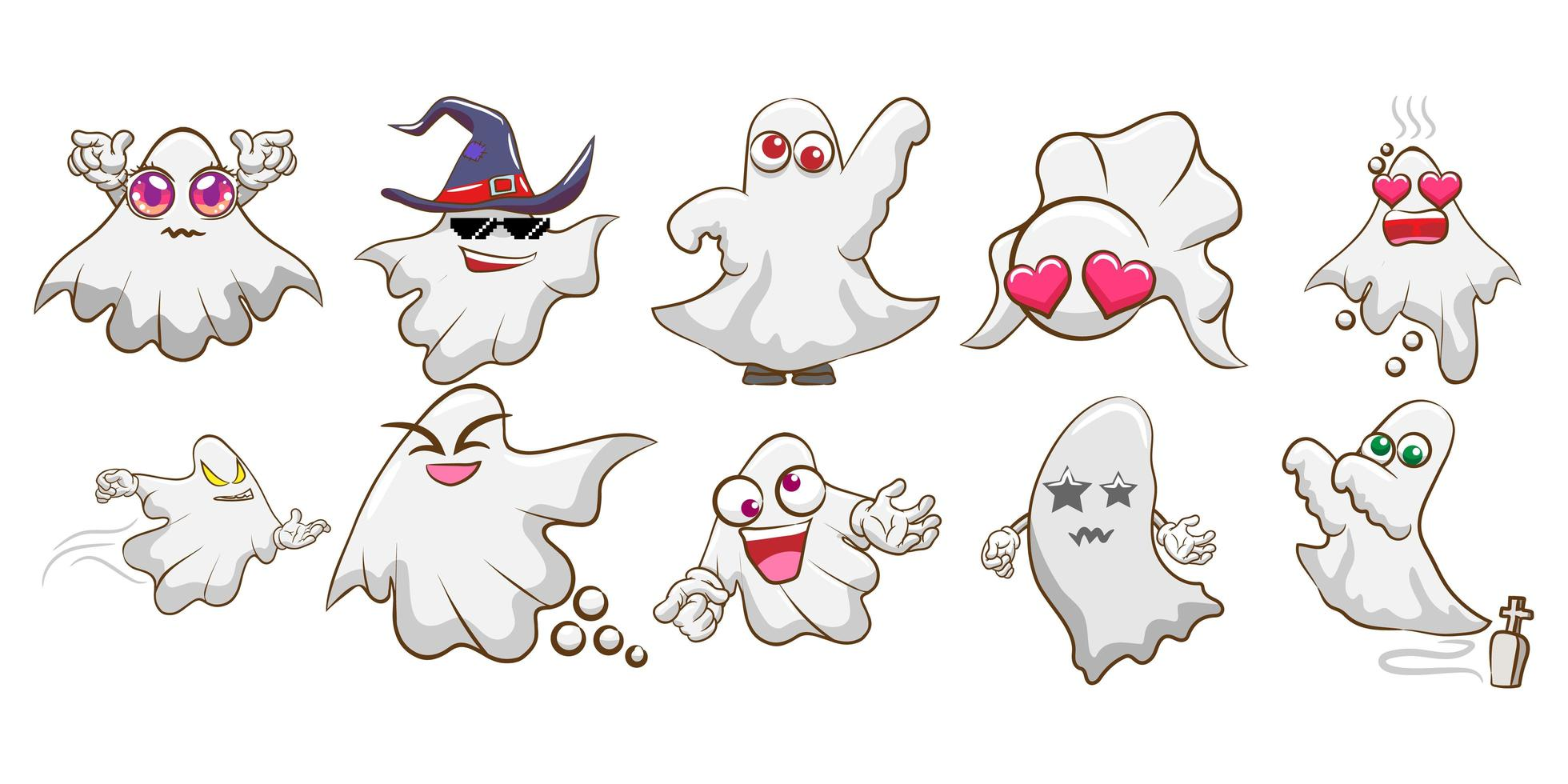conjunto de fantasma de halloween dos desenhos animados vetor
