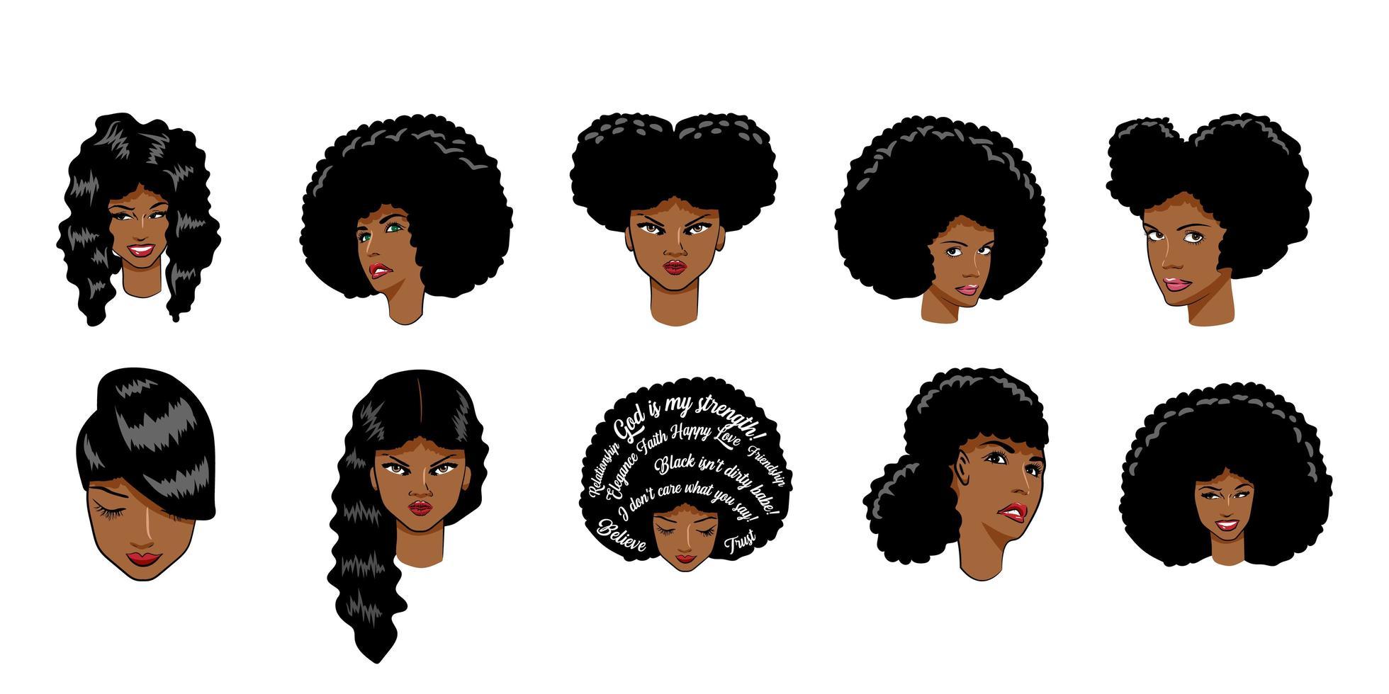 conjunto de mulher afro-americana vetor