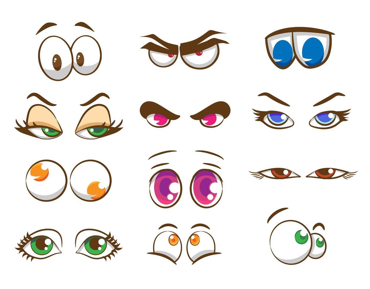 conjunto de ojos de dibujos animados vector