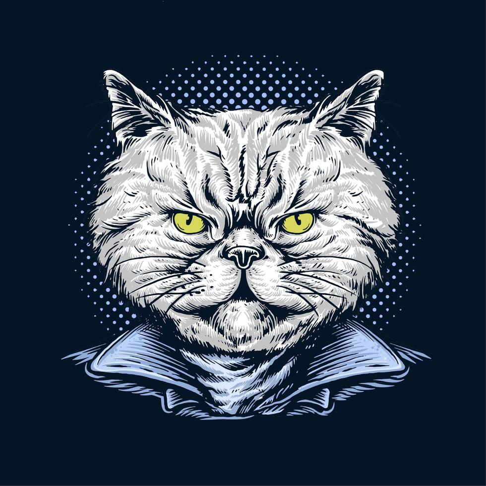 gato dibujado a mano con chaqueta vector
