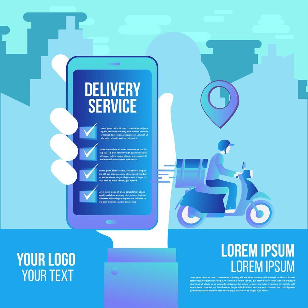 entrega rápida en línea en la aplicación en scooter vector