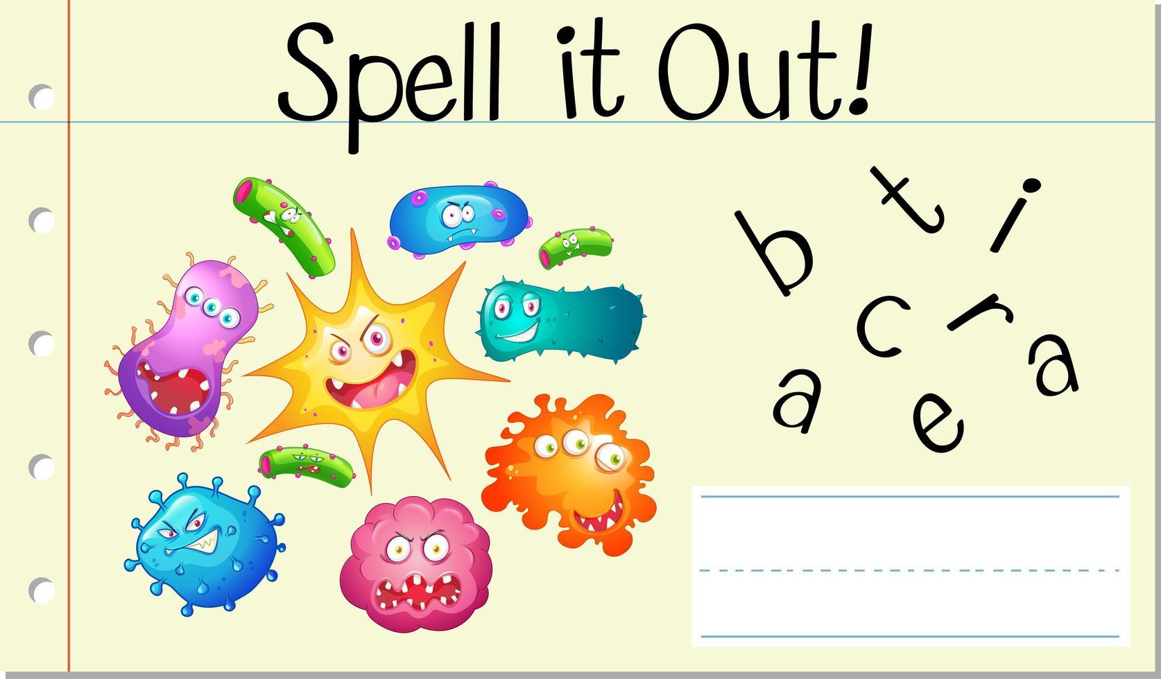 épeler le mot anglais bactéries vecteur