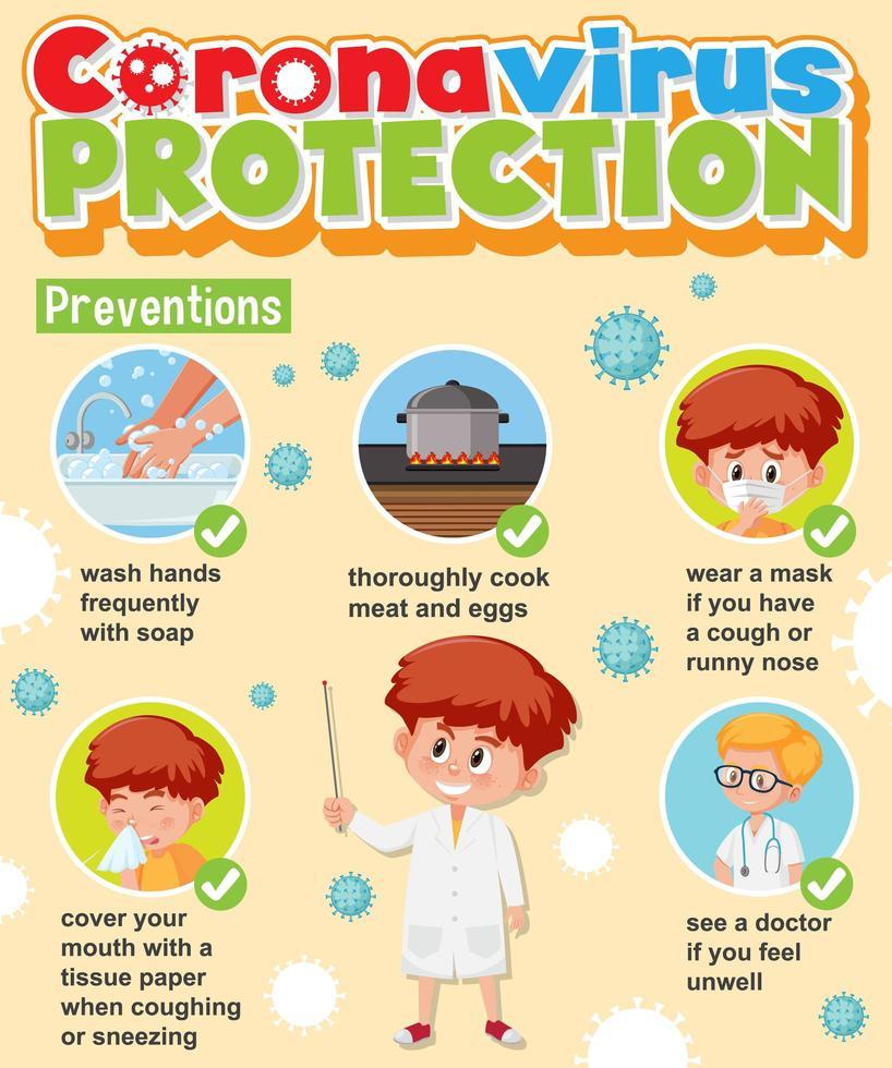infografica di protezione virus corona vettore