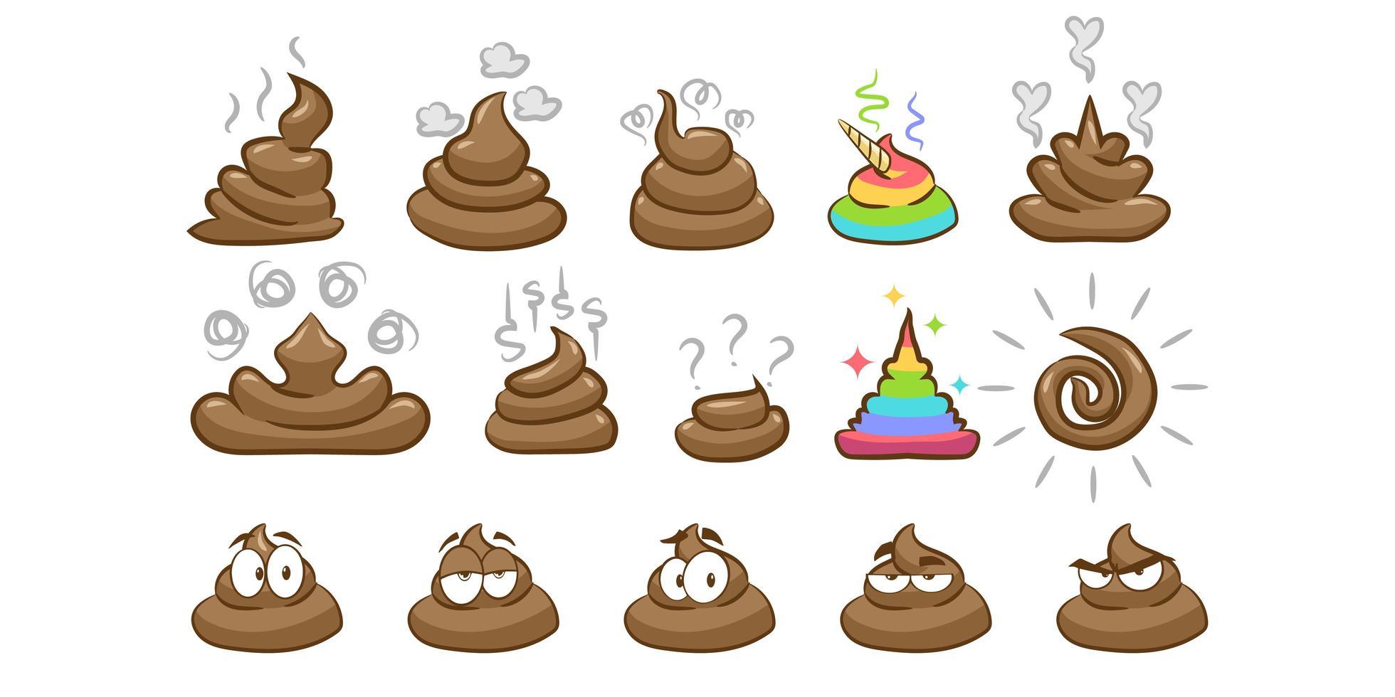 conjunto de emoji de cocô vetor