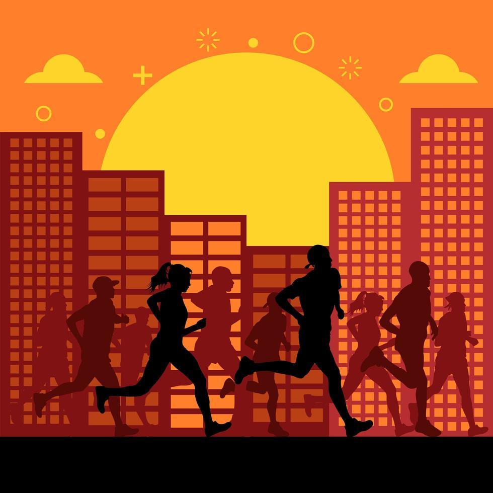 silhouettes de personnes exécutant le marathon de la ville vecteur