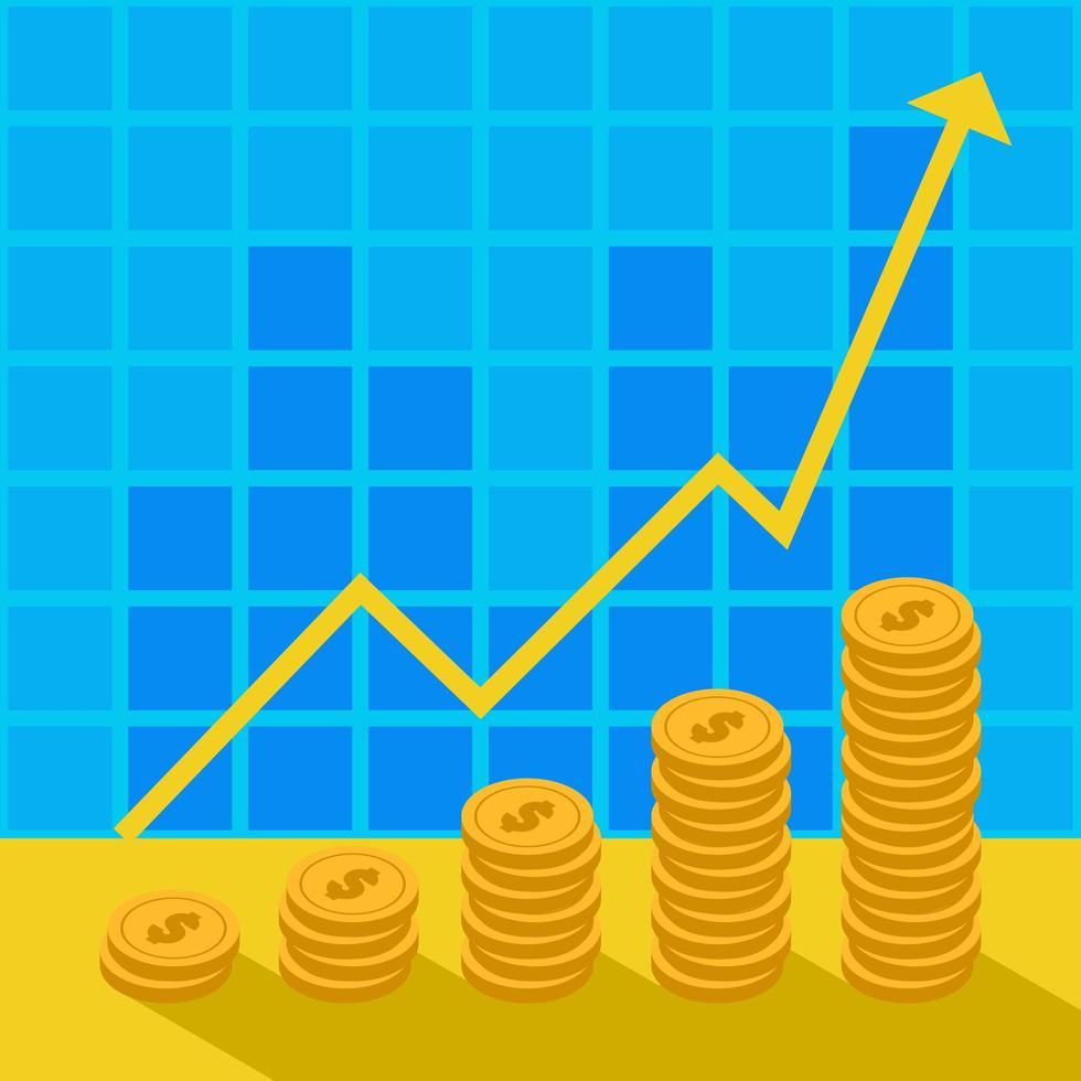 monedas de oro bajo gráfico creciente vector