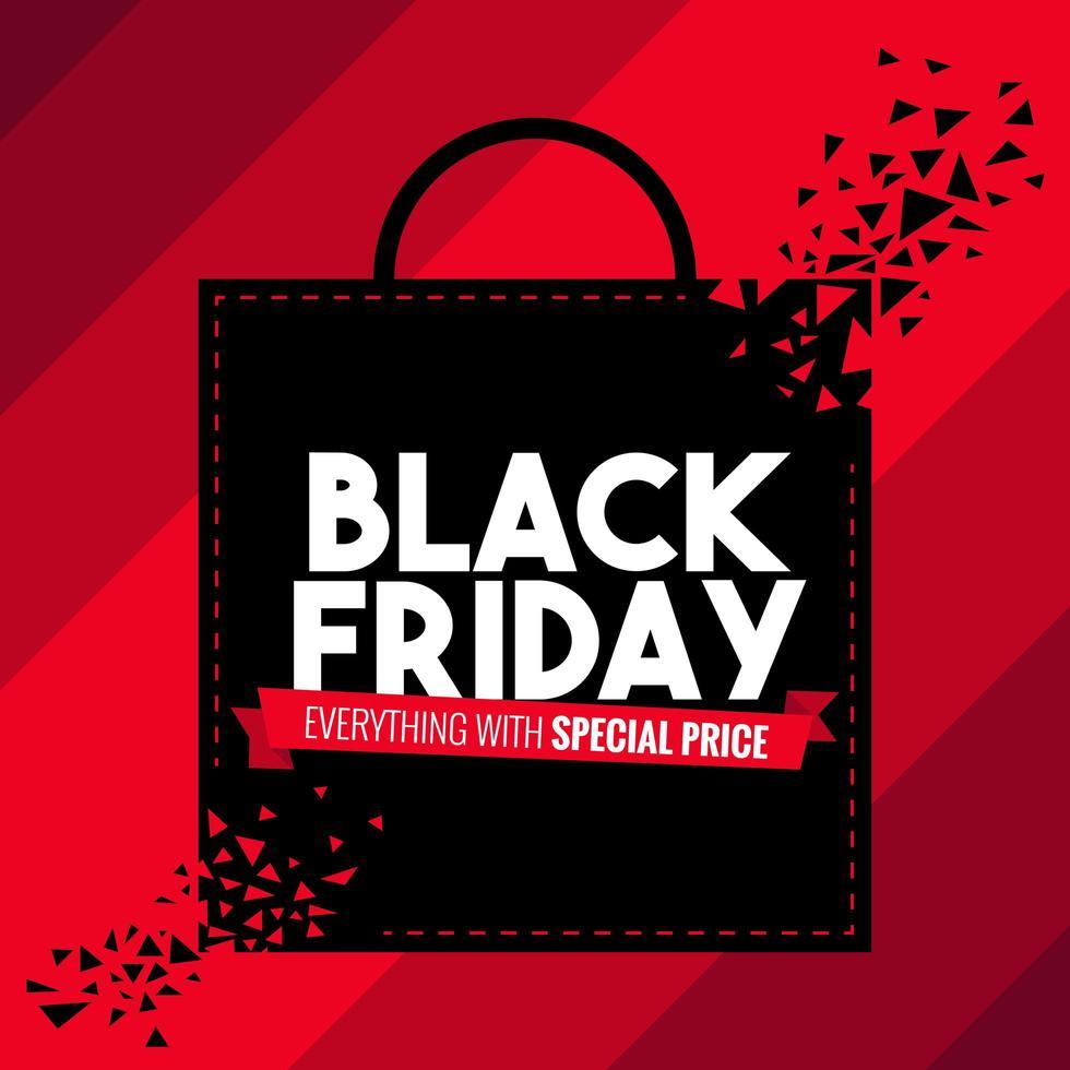 sexta-feira negra saco de compras venda banner vetor