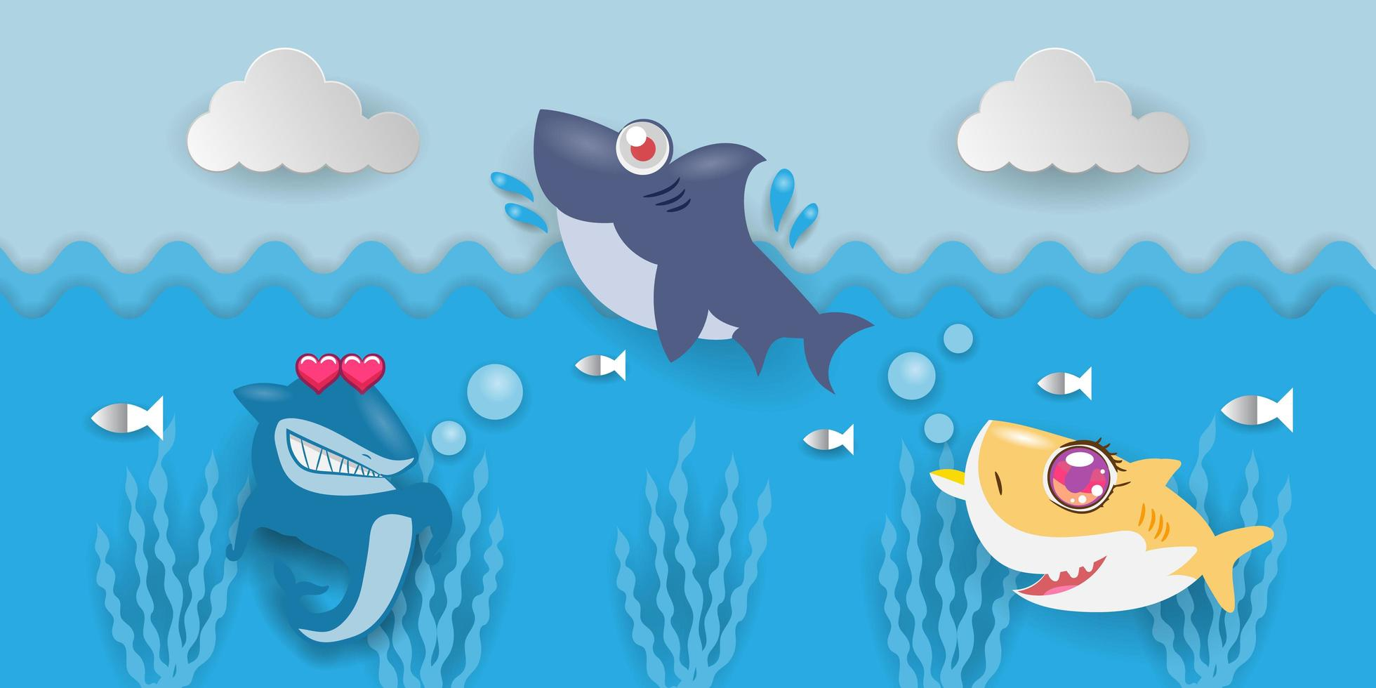 tiburones nadando en el agua vector