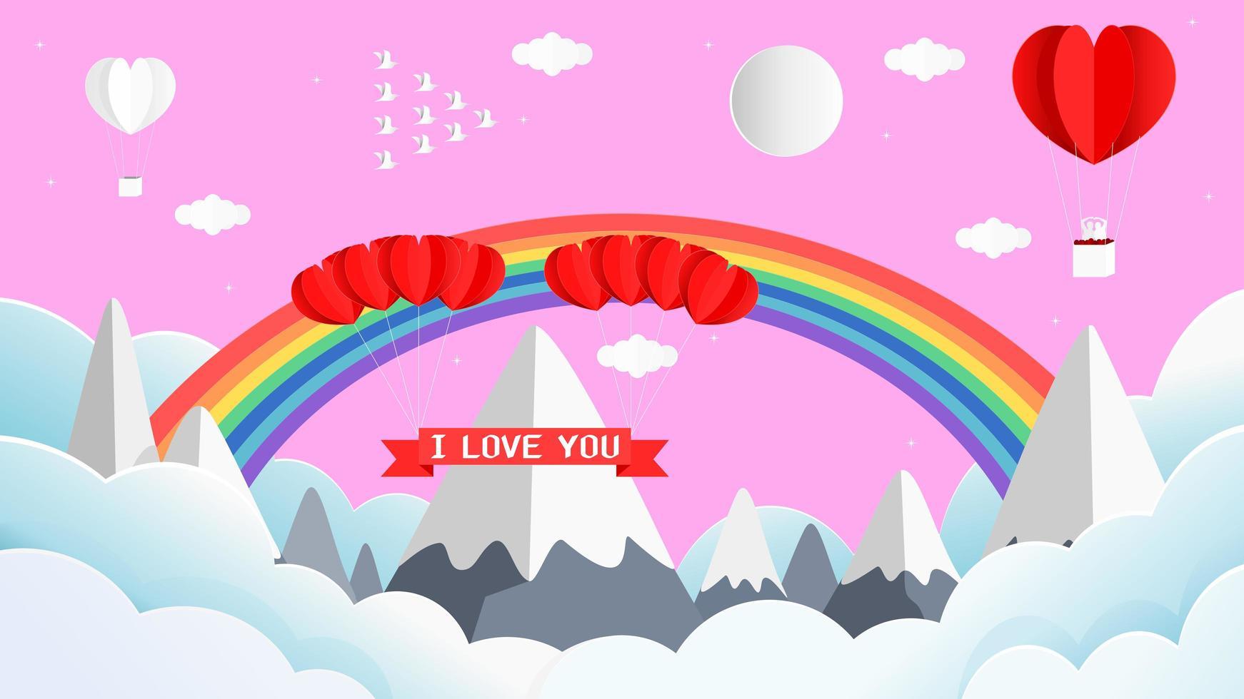 carta 3d San Valentino saluto con arcobaleno e montagna vettore