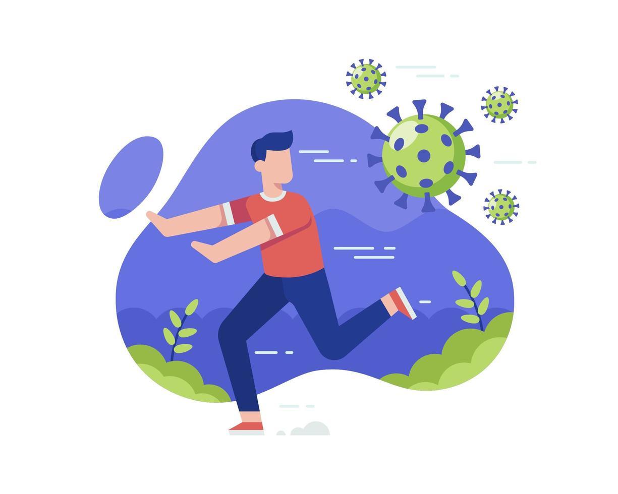 Man Running from Coronavirus vector