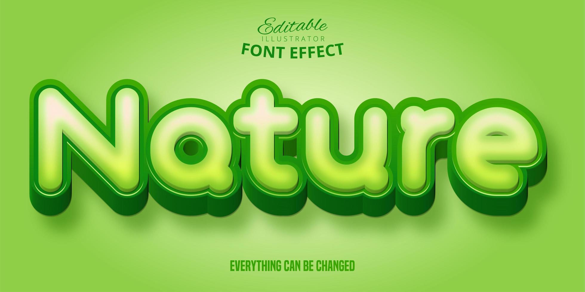 estilo de fuente de naturaleza verde editable vector