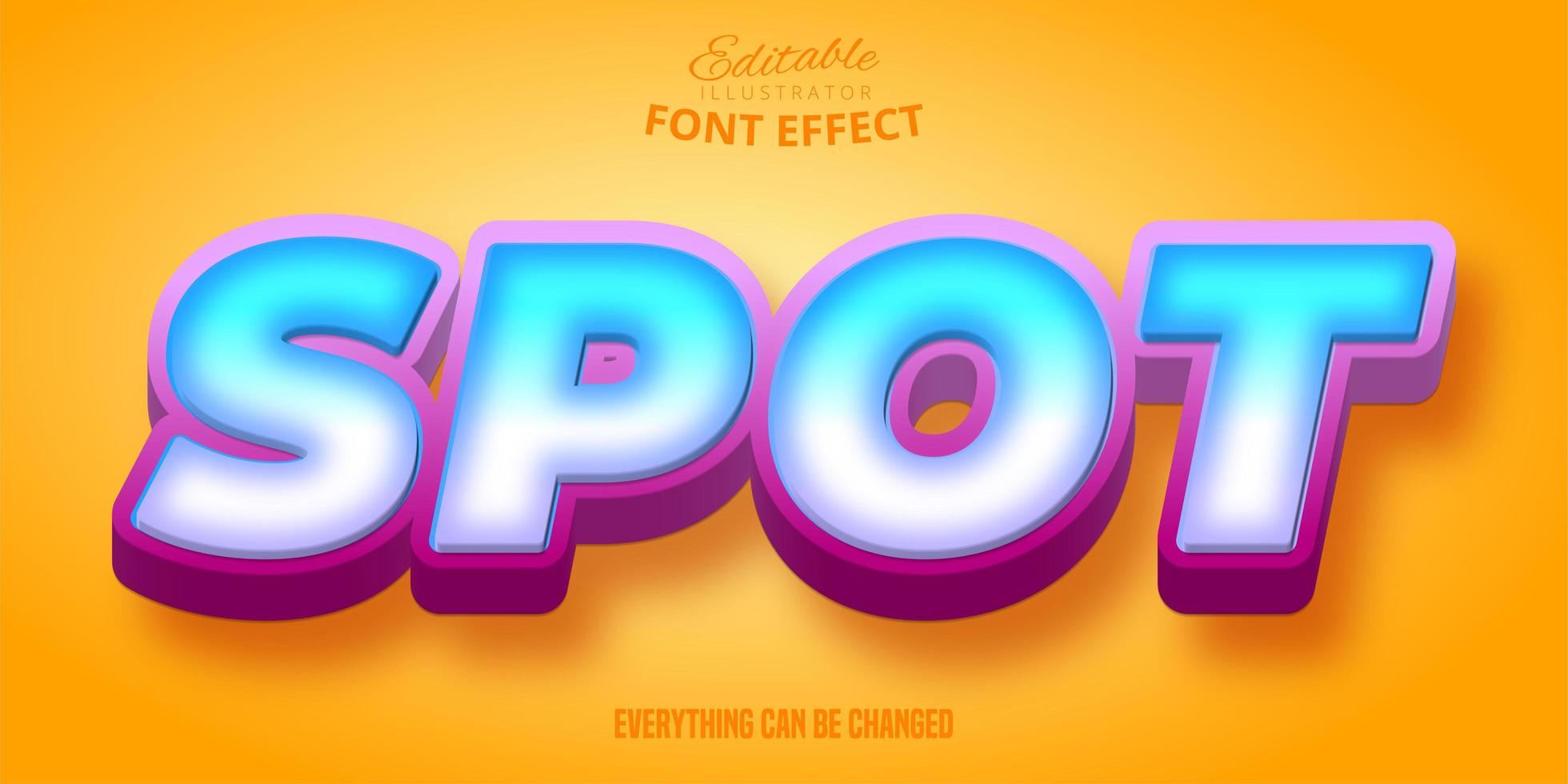 Editable font effect with blue gradient vector