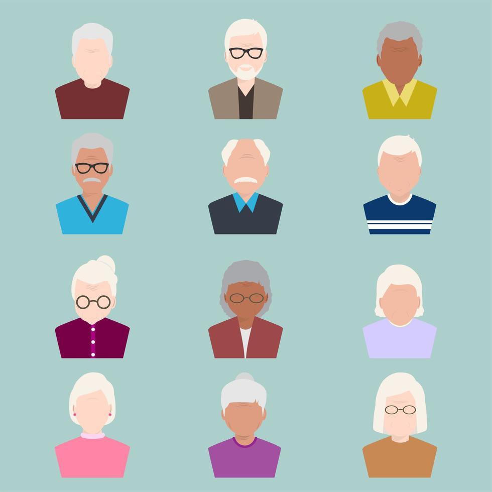 vlakke stijlenset oudere avatars vector