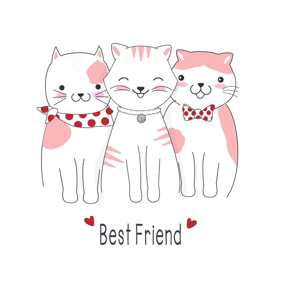 gato de dibujos animados mejores amigos vector